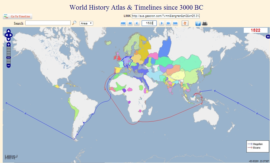 Interactive World History Atlas Since BC GeaCron - Interactive map of world